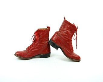 Red Lace Up Packer Boots with Kiltie by LAREDO, Women's Size 7 C