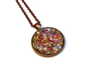 Faux Druzy, Glitter Necklace, Sparkly Jewelry, Gift for Her, Cute Pendant