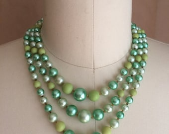 vintage 1950's 60's multi strand beaded necklace / seafoam greens / costume jewelry / your grandma's beads