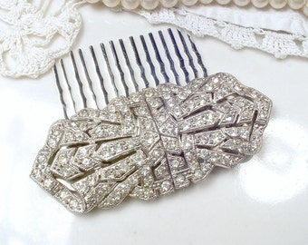 Antique 1920s Hair Comb OR Sash Brooch, Art Deco Duette Dress Clips, Pave Rhinestone Silver Bridal Hair Comb, Great Gatsby Wedding Hairpiece