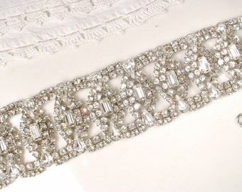 WEISS Wide Crystal Cuff Bracelet, Silver Rhinestone Bridal Bracelet, Hollywood Glam Statement Bracelet,Vintage Great Gatsby Art Deco 1920s
