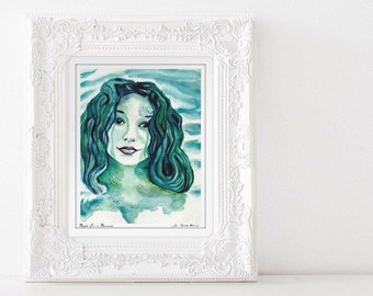 Watercolor Mermaid, Tori Amos inspired, Archival Hand Signed Art Print, Watercolor Reproduction