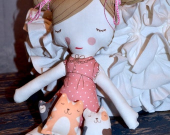 """Love of Kitties! Soft and Cozy 18"""" Personalized Doll ~ Comes with 3 Little Kitties ~ Machine Washable"""