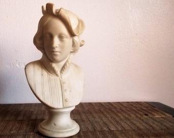 Small Vintage Ceramic Bust of Italian Painter Raphael