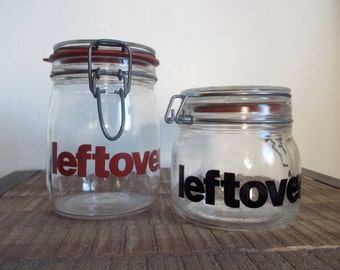 Pair of Vintage Helvetica Font 'Leftovers' Glass Mason Storage Jars