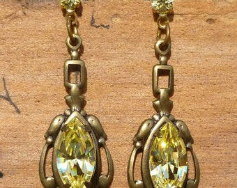 Vintage Prong Set Jonquil Austrian Crystal And Brass Stud Drop Earrings By Sadie Green
