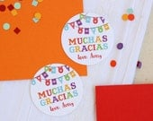 Fiesta Favor Tags - Birthday Party Favor Tags - Fiesta Tags - Muchas Gracias Tags  - Thank You Tags