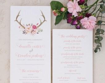 Rustic Antler Wedding Program with Blush Floral Design - Rustic Wedding Programs - Antler Ceremony Programs