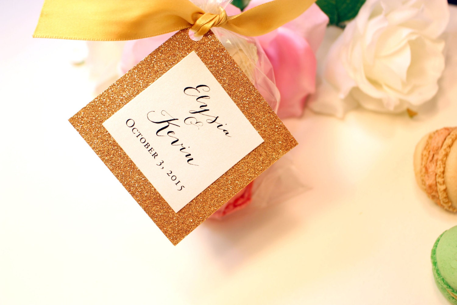 gold wedding favor tags gold monogram tags by pinkorchidinvites