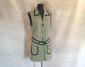 Vintage 60's MOD Striped Mini Dress, Knit, Shift, Yellow, Black, Sleeveless, Women's Size Medium to Large