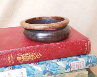 Vintage 80's Wood Bangle Bracelets, Set of Two, Mahogany Brown and Milk Chocolate Brown, Made in Africa
