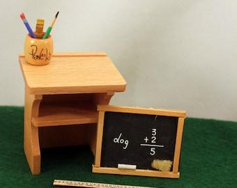 Miniature School Desk Dollhouse School Nursery Decor Blackboard Ruler Pencil Holder
