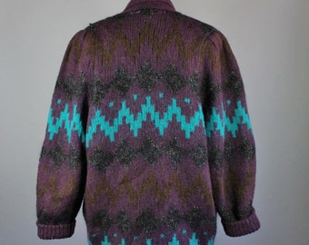 Vintage 80s Women's Tribal Navajo Design Purple Eggplant Turquoise Mohair Blend Fall Winter Modern Prairie Cardigan Sweater Jacket