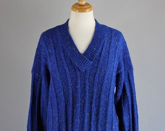 Vintage 80s Women's Royal Blue Speckled V Neck Fall Winter Pullover Sweater