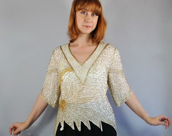 Vintage 80s does 20s Women's Cream Gold Glam Sequined Beaded Flapper Style Embellished Top, Size Medium
