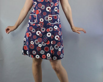 Vintage 60s Women's Navy Blue Mod Circles Print Mini Scooter Romper Spring Summer Dress