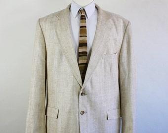 Mens Silk Sport Coat, Suit Jacket, Cream Sport Coat, Vintage, Size Large, GOGOVINTAGE, FREE SHIPPING