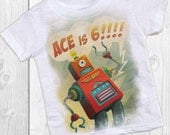 ROBOT Birthday Boy shirt -personalized robot party shirt - pick any age