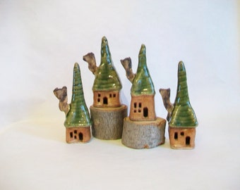 Garden Fairy Houses - New Square Design - Set of 4 - Handmade, Wheel Thrown -- Ready to Ship