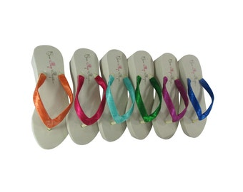 Choose any color Wedding Wedge Flip Flops- Bridesmaid Bride Heel Flip Flop -Ivory White- Platform, Plain