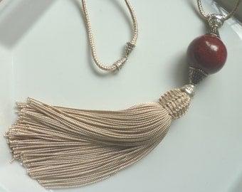 Moroccan  tribal, bead tassel necklace, ivory  art silk, pottery bead
