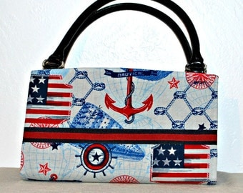 Red White Blue Nautical  Magnetic Bag Shell Cover