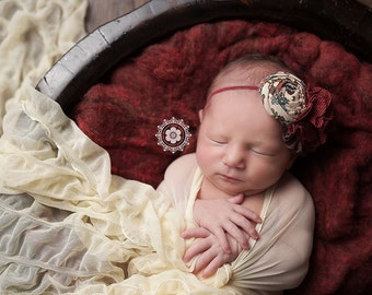 Marooning For You- burgundy maroon tan rosette burlap and lace headband