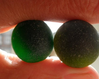 Rounded Seaham Greens - Beautiful English Sea Glass - Free Shipping (4851)