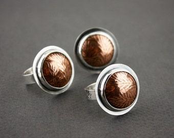 Botanical copper & Sterling silver rings- Copper and silver ring- Mixed metal rings- Copper statement ring- Flower ring- Domed copper ring