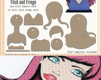 Portrait Media Blanks ~ Flick & Fringe Kit ~ Paperbabe Stamps ~ MDF Substrate for mixed media and craft.