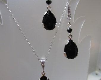 Swarovski Black Crystal Earring Necklace Set, Swarovski Crystal, Black Crystal Teardrop Set, Jet, Black, Earring, Necklace, Silver, Drop