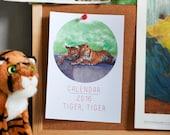 2016 Calendar, Fine Art 5x7 Desk Calendar, Tiger Conservation, Jungle Green, Orange, Black, White, Stripe - Tiger Tiger
