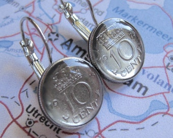 1975 Netherlands Holland Petite Crown 10 Cent Earrings