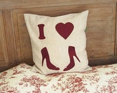 Decorative cream cushion with applique burgundy silk saying I love shoes,valentines day,home decor,bed cushion,linen,HANDMADE BY FRALINE.