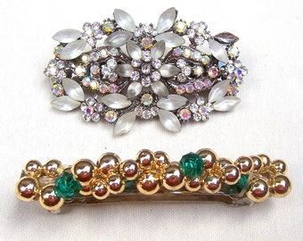 Vintage hair barrette 2 glitzy retro hair accessory hair clip hair slide hair jewelry hair ornament