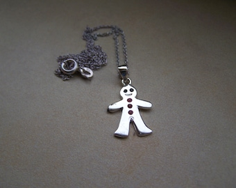Sterling silver Ginger Bread Man Necklace