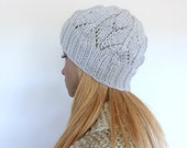 Light Grey Knit Hat Grey Womens hat Grey Knit beanie