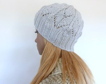 Grey Knit Hat Grey Womens hat Grey Knit beanie hat