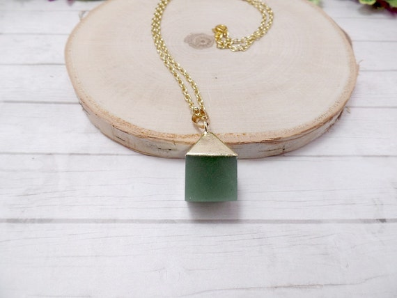 Aventurine Cube Necklace
