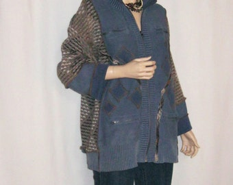 1X Denim Blue and Soft Brown Sweater Jacket