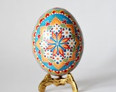 Fansy blue pysanka egg hand painted ~ buy pysanky as fertility amulet or good luck charm ~ egg is symbol of new life ~ next chapter in life