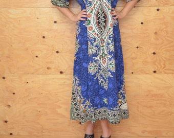 Vintage 70's Blue & Black Thai Caftan, Maxi Length, Bell Sleeves, One Size Beautiful Print