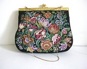 Vintage floral clutch, black evening bag, small floral purse, floral tapestry purse, floral clutch purse, embroidered small purse