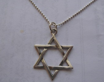 Large Star of David Necklace, Jewish Star Necklace, Simple Star Pendant, Bar Mitzvah Gift, Silver Star Necklace, Mens Jewelry, Simple Star