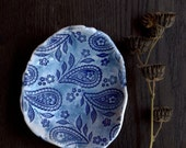 Ring dish with indigo paisley pattern.  Perfect gift idea for her. Blue and white ceramics, pottery.