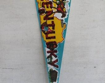 "Vintage Pennant Banner -- Kentucky // 1974 collectible // 25"" Collectible Souvenir Pennant Banner"