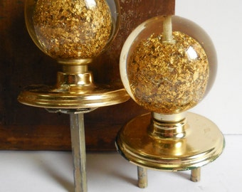 2 vintage door knobs Lucite Acrylic Gold leaf nugget balls inside Mid Century Retro hardware supplies