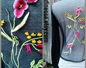 Blossoms - reclaimed, upcycled vintage 70's black cardigan, button down sweater, embroidered mesh inlay