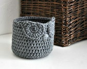 Small Grey Owl Basket Crocheted Bin Yarn Holder Woodland Nursery Decor Home Organizer Custom Colors