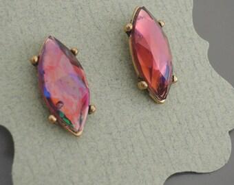Vintage Earrings - Plum Opal Earrings - Rhinestone Earrings - Antique Gold Earrings - Bridesmaid Earrings - Stud Earrings - handmade jewelry